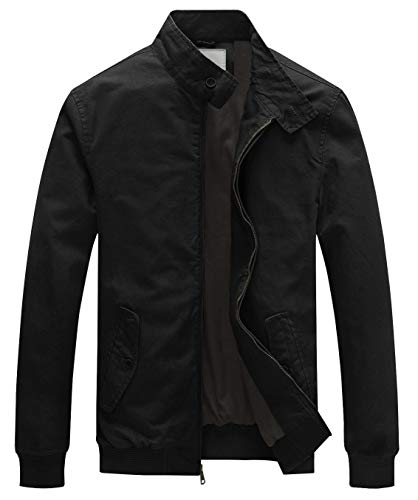 - WenVen Men's Causal Cotton Bomber Jacket Classic Outerwear Coat(Black,M)