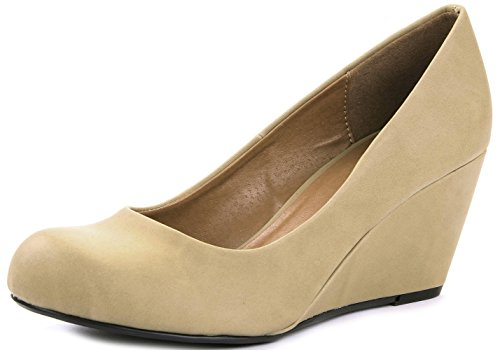 T-H Sleek Simple Formal Faux Nubuck Wedge Heel Dress Pump Shoes Camel QWHKi0P