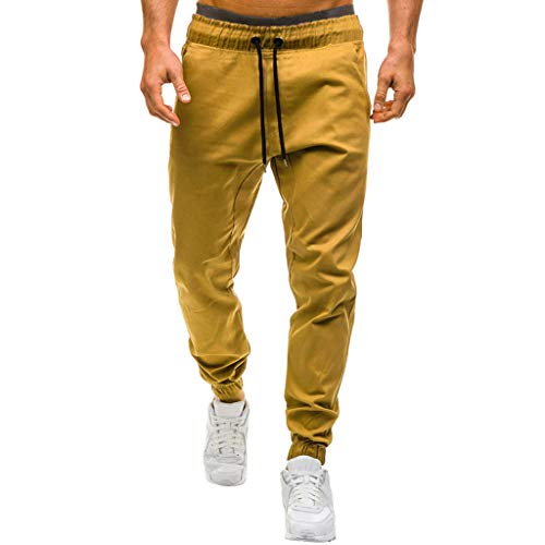 Fabrics Khaki Twill - Fuumiol Men's Chino Jogger Pants Basic Solid and Stretch Twill Fabric Slim Fit Joggers Fitness Sweatpants Gym Training Khaki