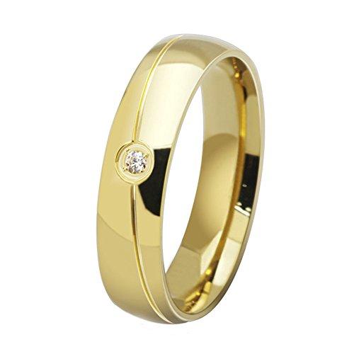 2fb46c9e5f6f UM Joyería 18K Oro Chapado Acero inoxidable Anillos Hombres Mujer con  Soltero Cristal 85% OFF