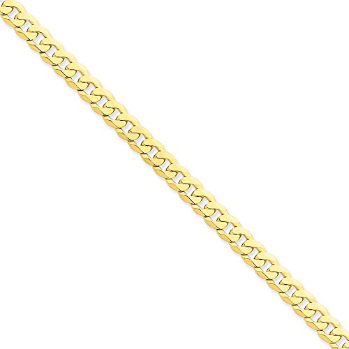 14k Yellow Gold 6.1mm Beveled Curb Chain 8'' Bracelet by Jewelplus