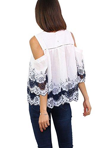 bianco oltremare Blu Ce Senza Luc Collo Donna Camicia Stile Impero vA10q