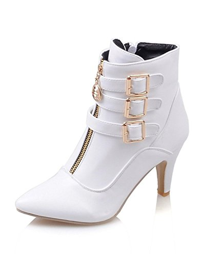 Maybest Women Autumn Winter Mid Calf Leather Boots High Heel Zipper Military Buckle Motorcycle Cowboy Ankle Booties White 8 B (M) US
