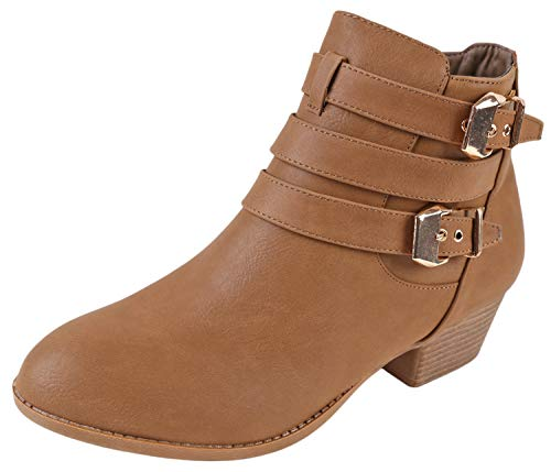 (TOP Moda Women's Buckle Straps Stacked Low Heel Ankle Booties Khaki 7.5)