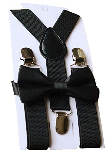 UDRES Unisex Kid Boys Girls Adjustable Bow tie & Suspender Sets (One Size, Black)