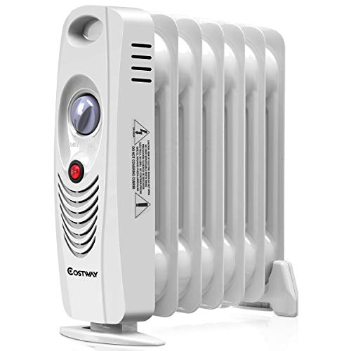 "COSTWAY Oil Filled Radiator Heater Mini Space Heater Portable Electric Heater Room Thermostat 700W (14"" Height)"