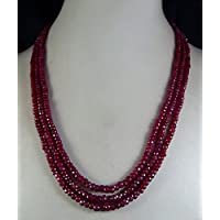 """FidgetGear AAA Natural 2x4mm Natural Ruby Faceted Beads Necklace 3 Strand 17""""-19"""""""