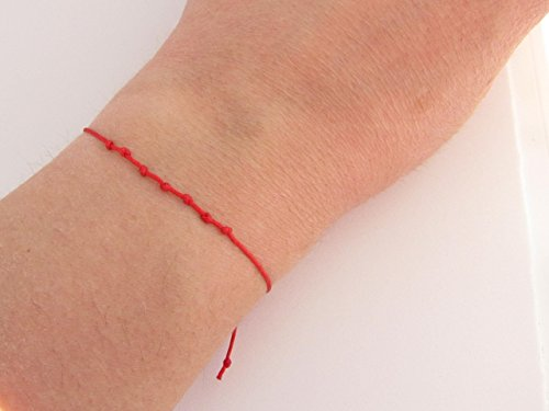 Bracelet Porte Bonheur Kabbale Fil Rouge 7 Noeuds Amazonfr Handmade