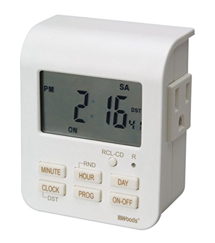 Coleman Cable 50009 12 Pack 7-Day Indoor Heavy Duty Digital Timer with 2-Outlets, White