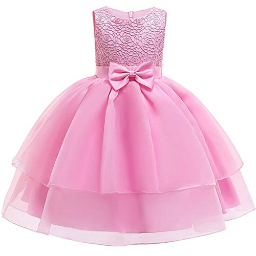 Baby Girls Dress Pageant Flower Children Costume Dresses Sleeveless Dresses for Girls Summer Clothes,Pink,5