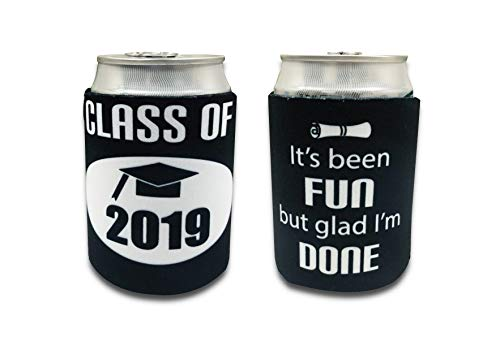 Tainada Class of 2019 Neoprene Beer Beverage Drink Can Bottle Coolie Cooler Insulators Sleeve Cover Huggie Holder (2 pcs,Double Sided Printing) with One Bonus Absorbent Coaster (Class of 2019) -