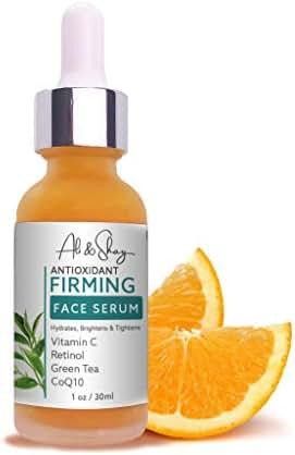 Vitamin C Firming Facial Serum - Extreme Antioxidant Face Protection with Retinol + CoQ10 + Green Tea & Vit E -Anti-aging Gel for Dark Spots, Puffy Eyes & Wrinkles - 100% Natural & Organic 1oz