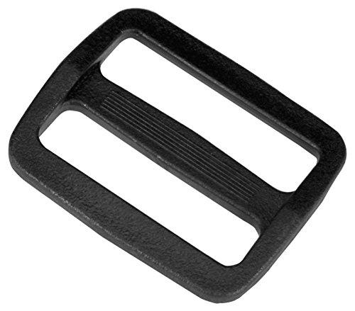 Strapworks Black Plastic Wide Mouth Tri-Glide Slide Bag Straps, Rifle Slings, Dog Collars  1.5 inch, 2 Pack