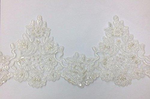 Ivory Pearl beaded lace trim, bridal alencon lace, sequined lace trim for bridal veil, bridal dress selling per yard - Lace Trim Yard