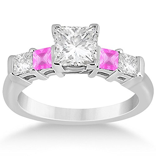 14k Gold Princess Square Cut Five Stone Diamond and Pink Sapphire Engagement Ring (0.46)