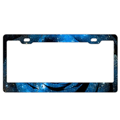 (Elvira Jasper Car License Plate Frame,Rose Space Stars Photoshop Radiance Shine Alumina License Plate Covers with Free Screws Fasteners and Screw Caps)