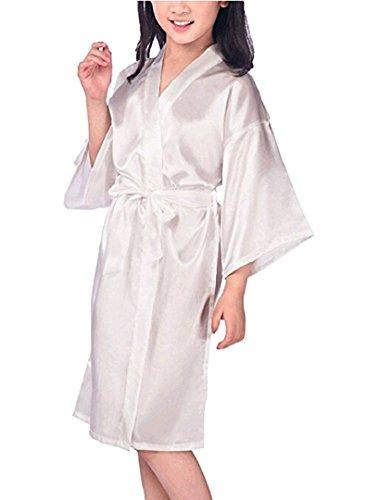Zaaale Kids Girls Satin Silk Kimono Robe Bathrobe Nightgown Bridesmaid Sleepwear for Spa Party Wedding Birthday (Tag 10(for 115-130cm Kid Girl), White) for $<!--$11.59-->
