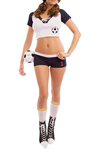 Sexy Halloween Soccer Costume - Women Fancy Sport Football Cheerleader Costume (Usa Women's Soccer Halloween Costumes)