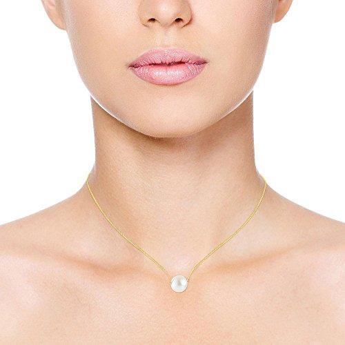 Pearls & Colors - Parure collier et boucles d'oreille - Or jaune 9 cts - Perle - Perle d'eau douce - AM-PARED 100-WH