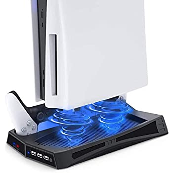 D DACCKIT Vertical Stand with Cooling Station for Ps 5 Console, DualSense Controller Charging Station for PS5 Digital Version / UHD