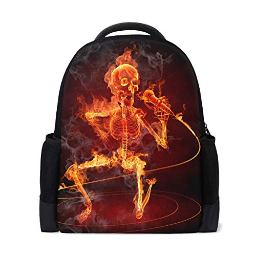 MUOOUM Fire Skull Sing Song Polyester Backpack School