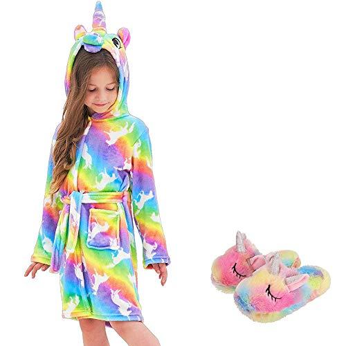 Ruiuzioong Kinderbadjas met capuchon en eenhoornschoenen met capuchon, badjas, nachtkleding, eenhoorn-cadeau voor…