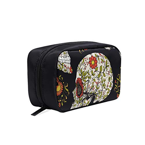 Human Skulls With Flowers For Holiday Portable Travel Makeup Cosmetic Bags Organizer Multifunction Case Small Toiletry Bags For Women And Men Brushes -