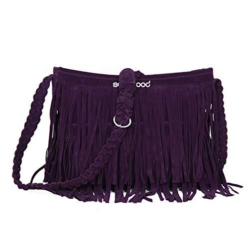 Women's Fashion Fringe Tassel Shoulder Messenger Cross Body Satchel Bag Handbag Purple (Tasseled Satchel Handbag)