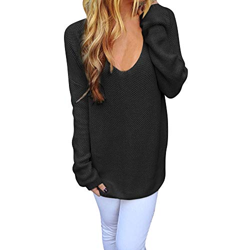 haoricu Womens Blouse Loose V-Neck Pullover Sweater Long Sleeve Slim Knit Sweater Jumper Tops