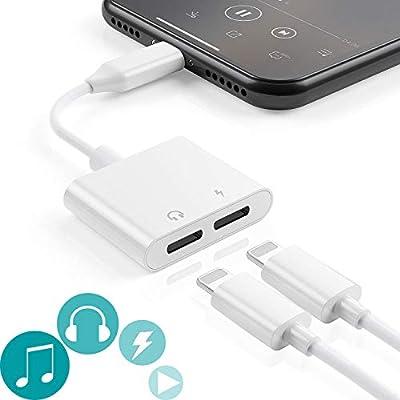 Adaptador de Conector para Auriculares iPhone / 8 / X / 7 Plus / 8 Plus Cargador a Adaptador Auxiliar de [Música + Carga + Control de Volumen + Call] ...