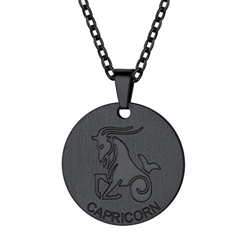FaithHeart Customizable Astrology 12 Constellation Horoscope Necklace, Black Gun Plated Capricorn Zodiac Star Sign Coin Pendant Necklace Birthday Gifts Lucky Charms Layered Necklace - Horoscope Sign Capricorn Zodiac