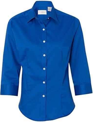 Van Heusen V0527 Ladies' 3/4-Sleeve Dress Twill Button Down Shirt