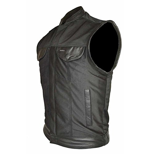 (Men's Motorcycle Riding Light Weight Textile Patch Holder Leather Trim Vest New(Regular L))