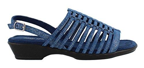 Easy Street Women Allure Huarache Sandal Blue Metallic