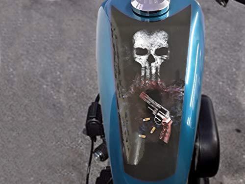 East Coast Vinyl Werkz Punisher Skulls 3pc Tank Panel/Shield Decal Set Harley Davidson Sportster Iron 883 1200 48 Chopper Bobber Rat Bike ()