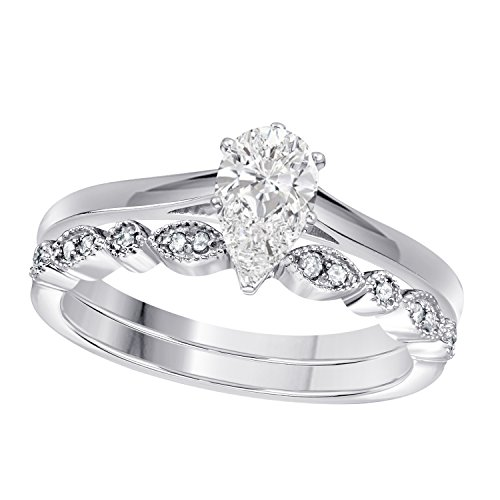 Gems and Jewels 1.00 Ct Pear Shape & Round Cut White CZ Diamond 14k White Gold Plated Art Deco Vintage Design Wedding Bridal Set Engagement Ring