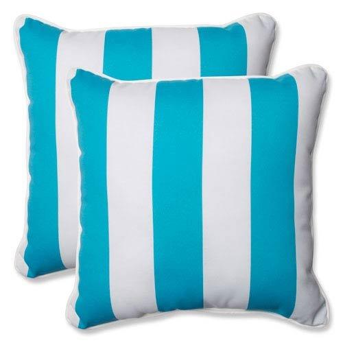 Pillow Stripe Cabana (Pillow Perfect Outdoor Cabana Stripe Throw Pillow, 18.5-Inch, Turquoise, Set of 2)