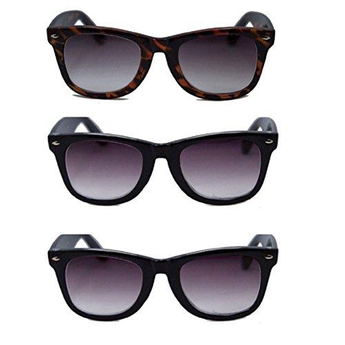 3 Pair Classic Wayfarer Full Reader Sunglasses NOT BiFocals-- 2Black/Tort 2.00