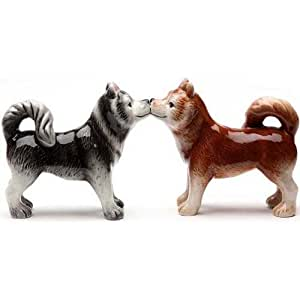 PTrading Magnetic Salt and Pepper Shaker Set, Kissing Siberian Huskies