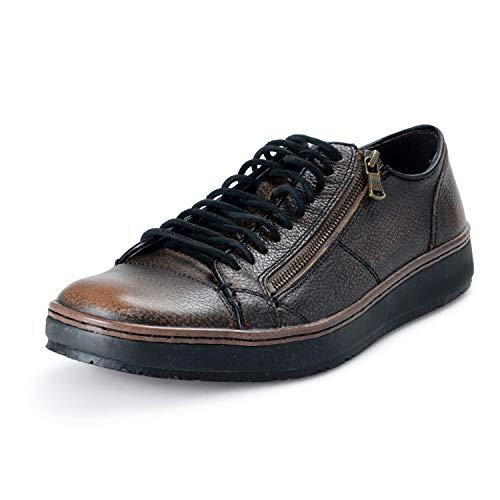 John Varvatos Star USA Men's Leather Barrett Creeper Zip Low Sneaker Shoes US 10 US 43 Brown