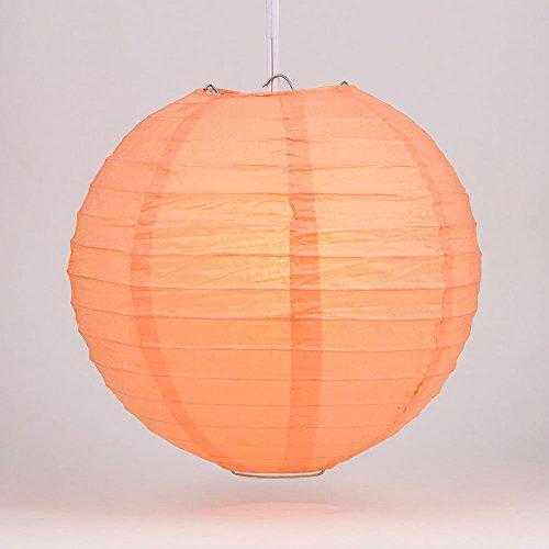Quasimoon PaperLanternStore.com 12 Inch Peach/Orange Coral Round Paper Lantern, Even Ribbing, Hanging (10 Pack) ()