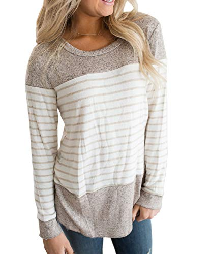 - Vemvan Womens Long Sleeve Round Neck T Shirts Color Block Striped Casual Blouses Tops Brown