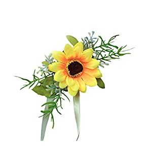 MOJUN Bride Bridesmaid Wedding Flower Corsage Wrist Flower Simulation Sunflower, Pack of 1 29