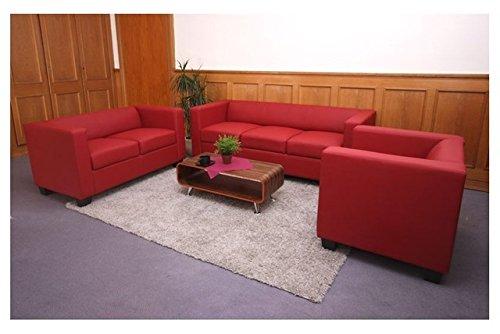 3 2 1 sofagarnitur rot kunstleder couchgarnitur loungesofa for Couch bestellen