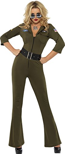 Smiffy's Top Gun Aviator Jumpsuit for Women - Sizes 4 to 14