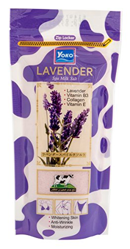 YOKO Lavender Spa Milk Salt Bath With Vitamin E & B3 - 300g. Purple & (Purple Salt)