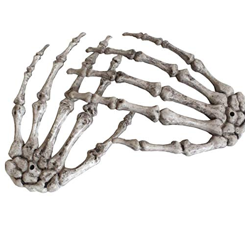 Halloween Skeleton Hand Prop (Halloween Skeleton Hands - Realistic Life Size Severed Plastic Skeleton Hands for Halloween Props Decorations, 2 Pieces(Right &)