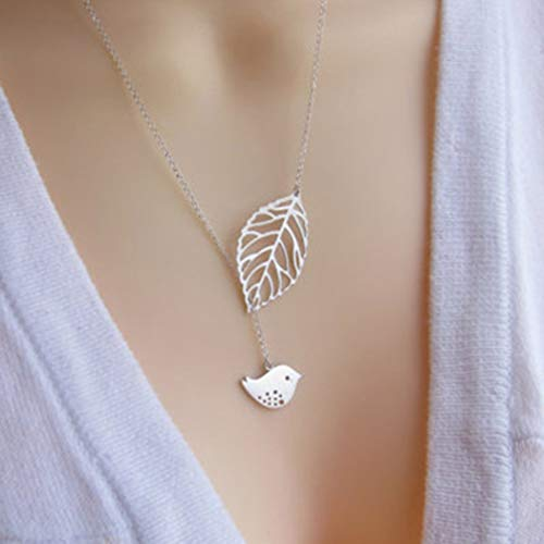 Tgirls Fashion Love Bird and Leaf Necklace Short Pendant Necklaces for Women and Girls (Silver)