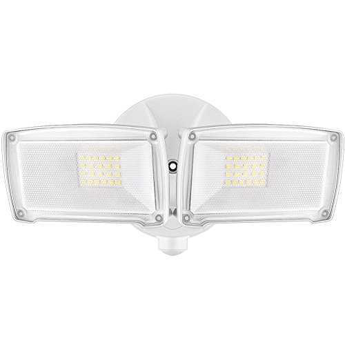 LEPOWER 2500LM LED Security Light, 22W Outdoor Flood Light, ETL- Certified, 5500K, IP65 Waterproof, 2 Adjustable Heads for Entryways, Stairs, Yard and Garage(White Light)