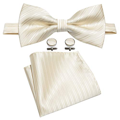 Barry.Wang Beige Bowtie Mens Silk Tie Pocket Square Cufflinks Set Wedding Necktie